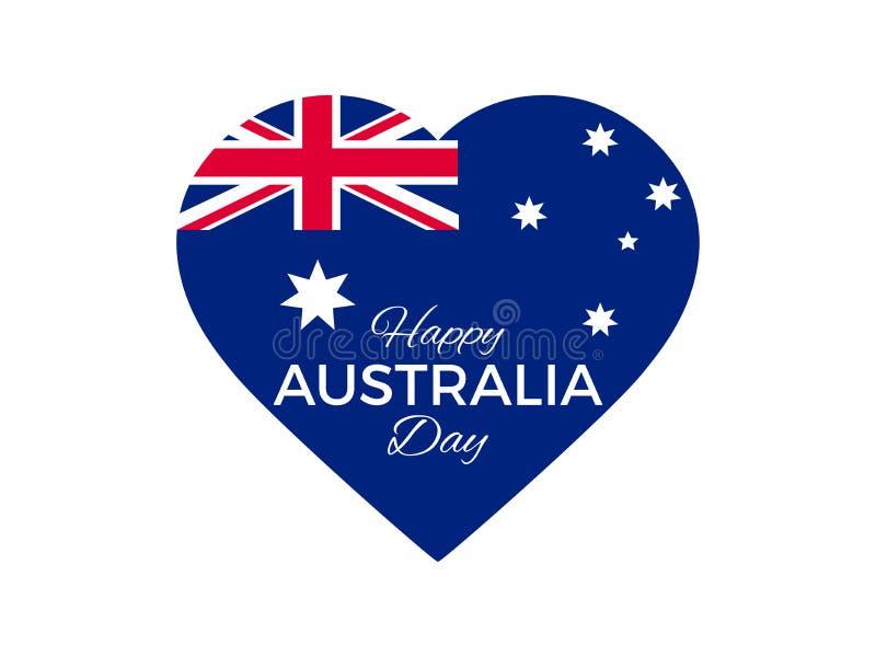 Giorno felice dell'Australia, il 26 gennaio Cuore con la bandiera dell'Australia Vettore illustrazione vettoriale