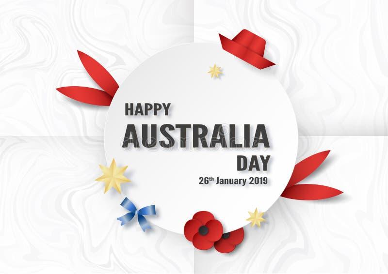 Giorno felice dell'Australia il 26 gennaio Progettazione del modello per il manifesto, carta dell'invito, insegna, pubblicità, al royalty illustrazione gratis