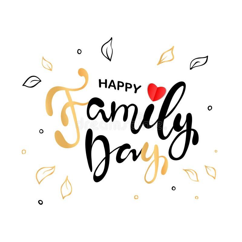 Giorno felice della famiglia Manifesto di tipografia dell'iscrizione illustrazione vettoriale