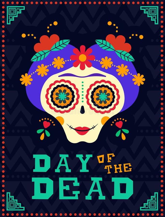Giorno felice dello scheletro morto del cranio dello zucchero di catrina royalty illustrazione gratis