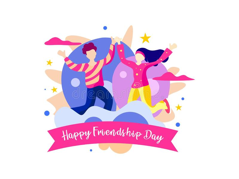 Giorno felice di amicizia Con le coppie sta essendo il partito Illustrazione di vettore royalty illustrazione gratis
