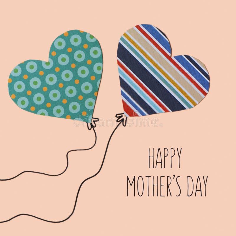 Giorno felice di madri del testo e dei cuori illustrazione vettoriale