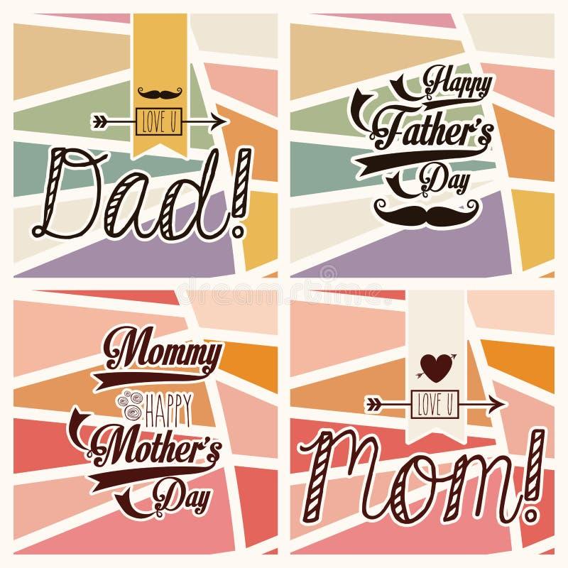 Giorno felice di padri e delle madri royalty illustrazione gratis