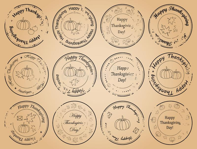Giorno felice di ringraziamento - francobolli d'annata di vettore illustrazione di stock