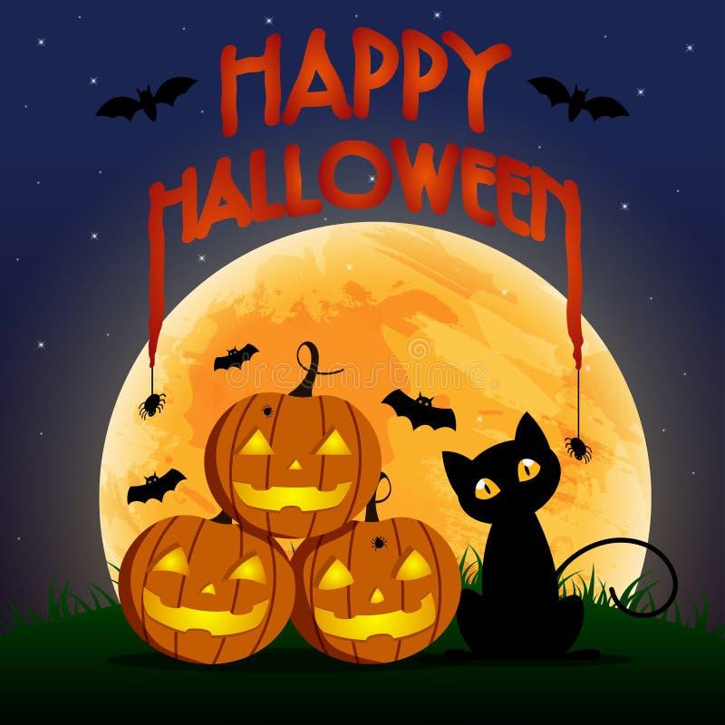 Giorno felice, pipistrello e ragno di Halloween su testo, del gatto su spaventoso di sorriso sveglio della zucca partito spettral illustrazione di stock
