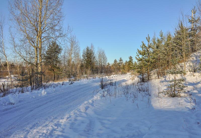 Giorno gelido di inverno soleggiato Strada di inverno alla piattaforma ferroviaria immagini stock