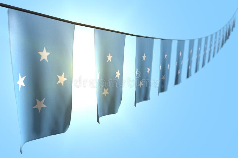 Giorno grazioso dell'illustrazione della bandiera 3d - molte bandiere o insegne della Micronesia che appendono diagonale su corda royalty illustrazione gratis