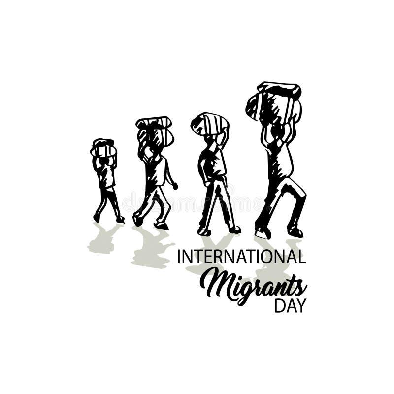 Giorno internazionale dei migranti illustrazione vettoriale