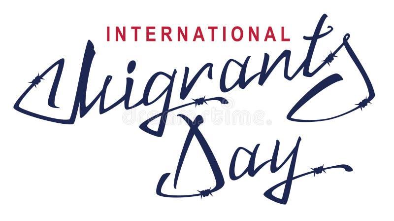 Giorno internazionale dei migranti Testo dell'iscrizione di filo spinato illustrazione di stock