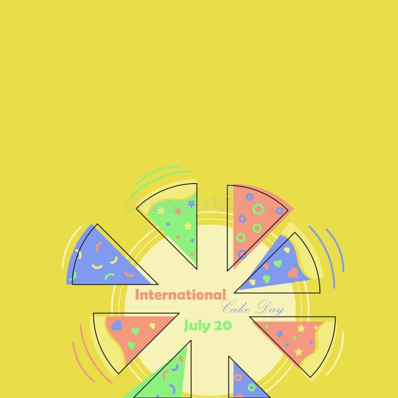 Giorno internazionale del dolce Dolce d'esplosione nei colori luminosi succosi I pezzi sono differenti immagine stock