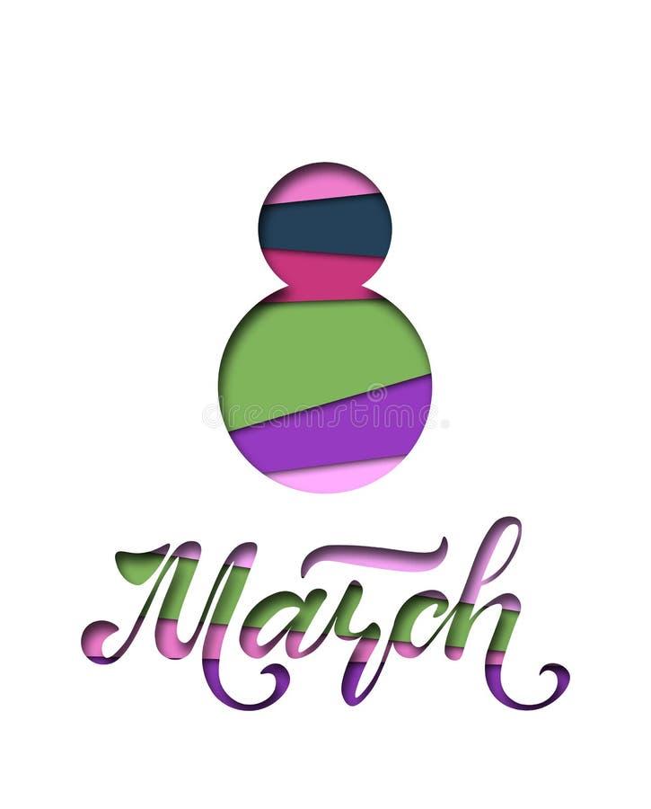 Giorno internazionale del ` s delle donne Insegna, aletta di filatoio per l'8 marzo Iscrizione disegnata a mano Progettazione del royalty illustrazione gratis