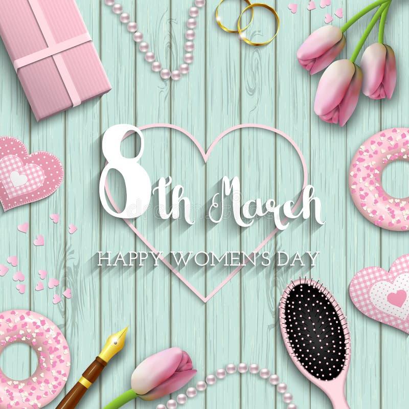 Giorno internazionale del ` s delle donne, l'8 marzo, testo su fondo di legno blu, illustrazione royalty illustrazione gratis