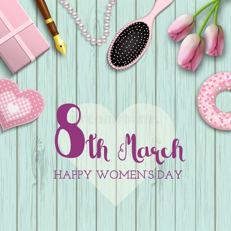 Giorno internazionale del ` s delle donne, l'8 marzo, testo su fondo di legno blu, illustrazione illustrazione di stock