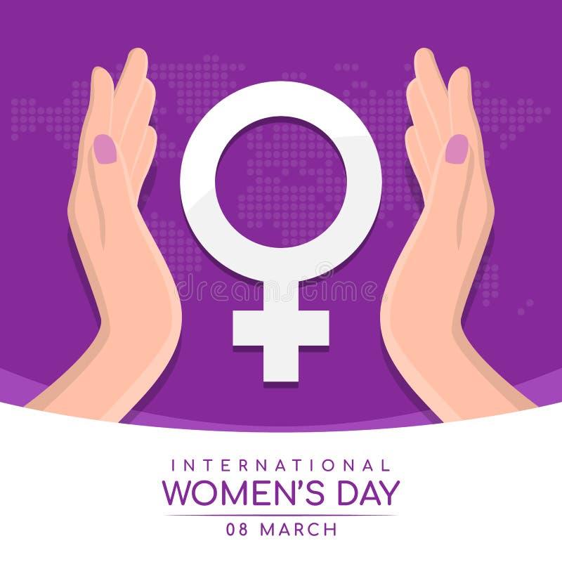 Giorno internazionale delle donne con il simbolo femminile bianco di cura della tenuta della mano della donna sul vecto porpora a illustrazione vettoriale