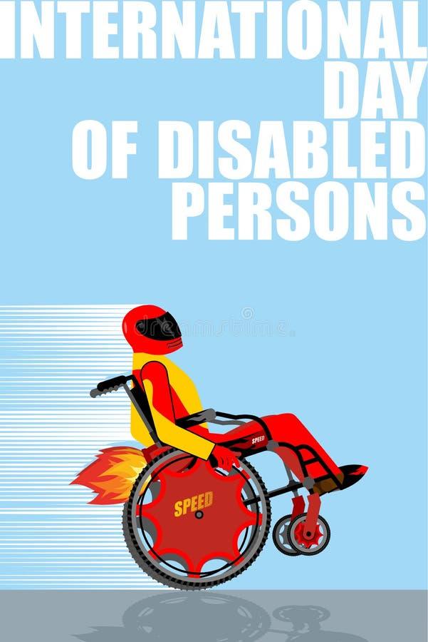Giorno internazionale delle persone con le inabilità Uomo sul wheelcha royalty illustrazione gratis