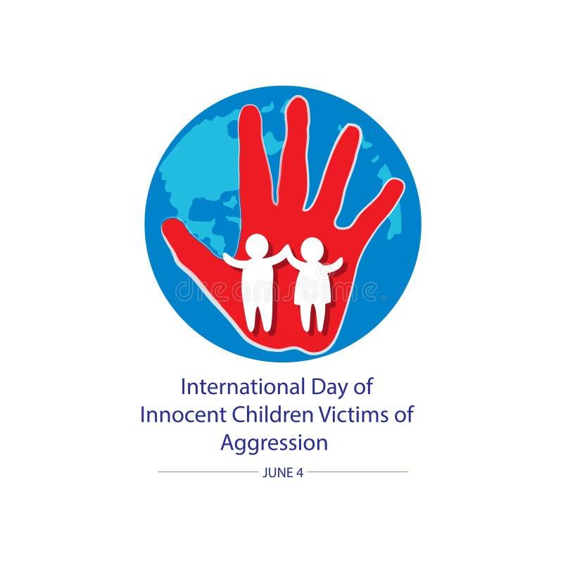 Giorno internazionale delle vittime innocenti dei bambini di aggressione illustrazione di stock