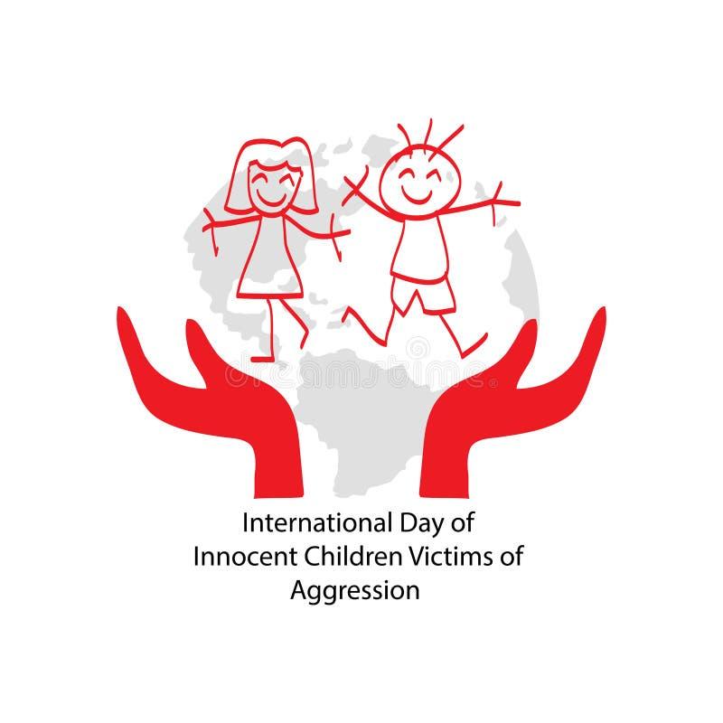 Giorno internazionale delle vittime innocenti dei bambini di aggressione illustrazione vettoriale
