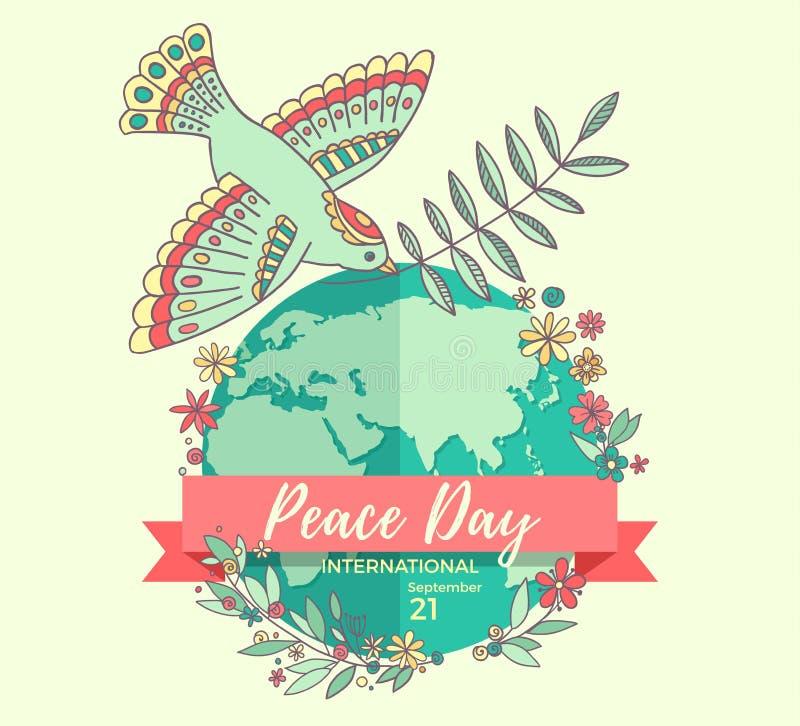 Giorno internazionale di pace 21 settembre La pace si è tuffata con ramo di ulivo sopra i fiori invasi pianeta Disegnato a mano royalty illustrazione gratis