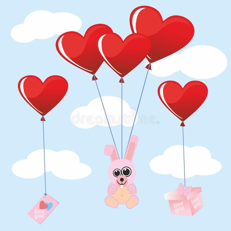 Giorno morbido del ` s di Valentine Valentine del coniglio del giocattolo Cuore l'angelo rosso di amore traversa il cuore volando royalty illustrazione gratis