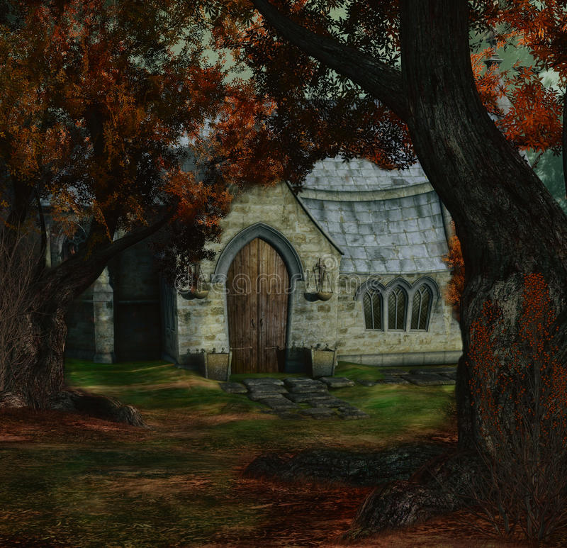 Giorno nascosto della chiesa illustrazione di stock