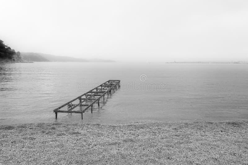 Giorno nebbioso nella riva immagine stock