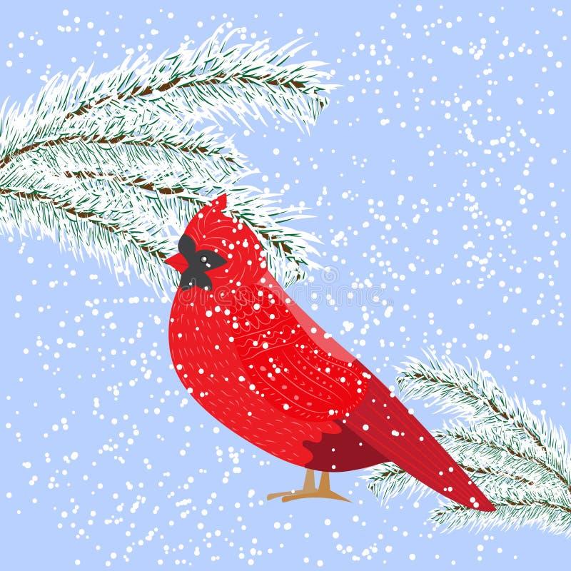 Giorno nevoso di inverno, sguardi cardinali dell'uccello all'abete nevoso, vec royalty illustrazione gratis