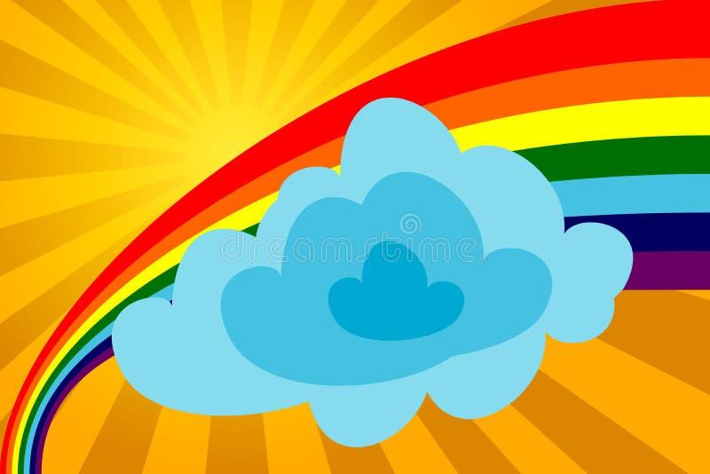 Giorno pieno di sole con un Rainbow illustrazione di stock
