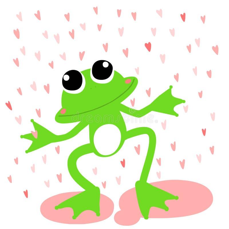 Giorno piovoso di amore della rana verde royalty illustrazione gratis