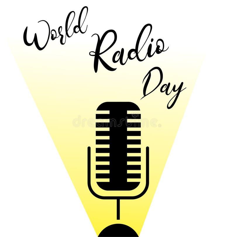 Giorno radiofonico del mondo Microfono Illustrazione di vettore illustrazione vettoriale