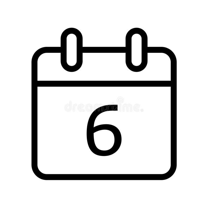 Giorno solare sei icone della data illustrazione di stock