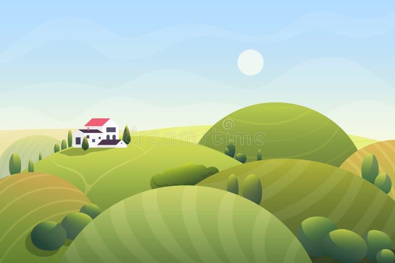 Giorno soleggiato del fumetto di estate sveglia di fantasia con le colline arrotondate curvy e la casetta rurale beatuful, alberi royalty illustrazione gratis
