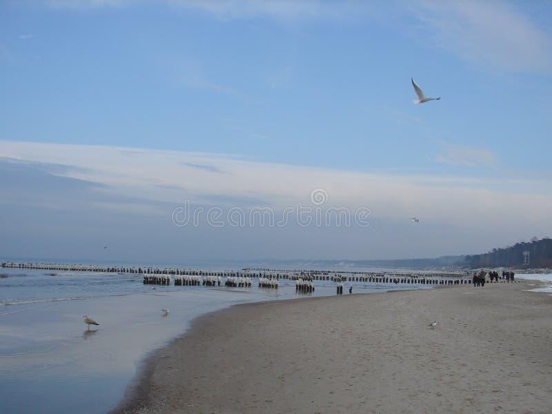 Giorno soleggiato di inverno sulla spiaggia nella città Polonia di Ustka immagine stock