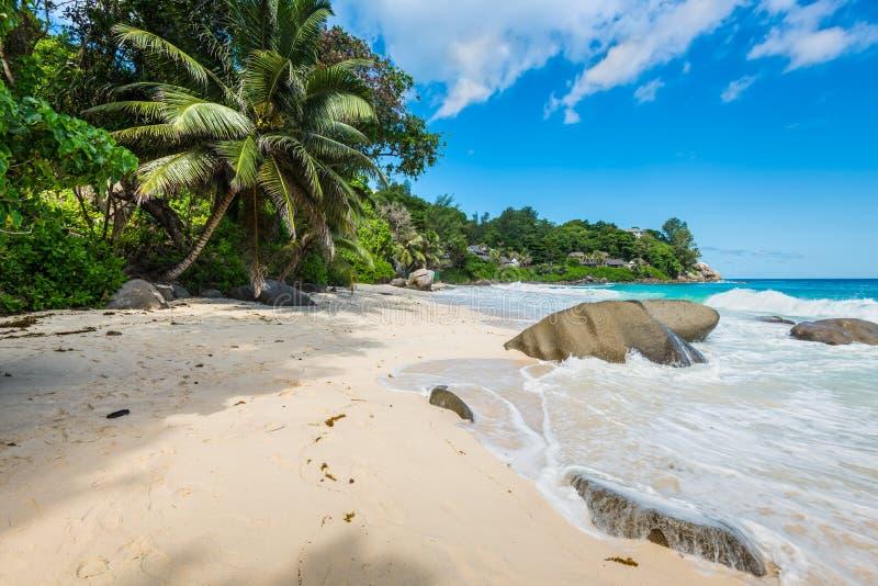 Giorno soleggiato sulla spiaggia di Carana, le Seychelles fotografia stock