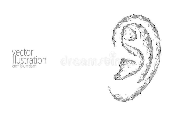 Giorno sordo di udienza del mondo Organo umano dell'orecchio in basso poli Linea poligonale innovazione futuristica del punto del illustrazione di stock