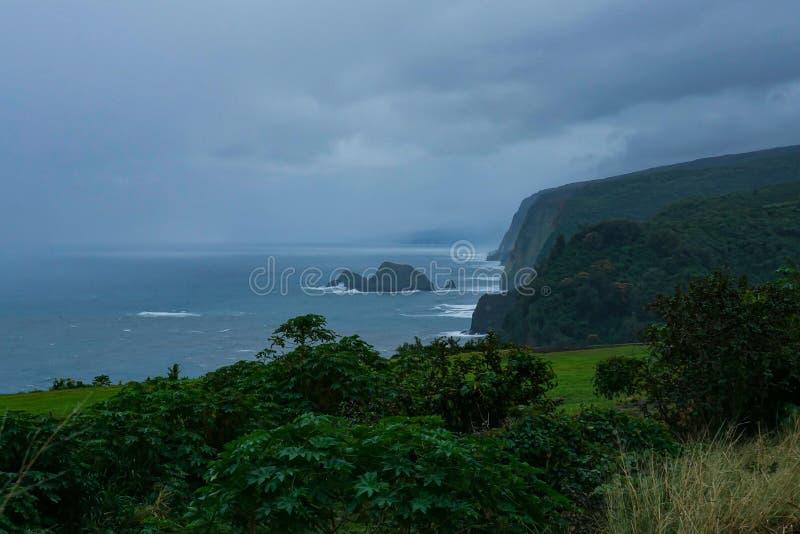 Giorno tempestoso sulla grande isola delle Hawai fotografia stock