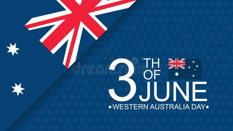 Giorno 3th di Australia occidentale del modello dell'insegna di celebrazione di giugno con la bandiera e la decorazione australia royalty illustrazione gratis