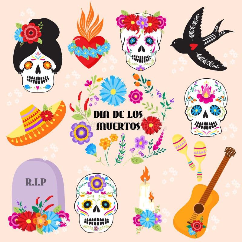 Giorno variopinto di festa di muertos di Dia De Los di simboli del vettore morto illustrazione di stock