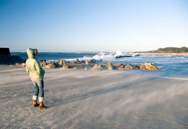 Giorno ventoso alla spiaggia fotografia stock
