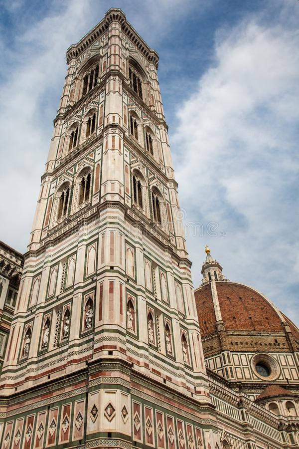 Giotto Campanile and Florence Cathedral consecrated in 1436 stock photography