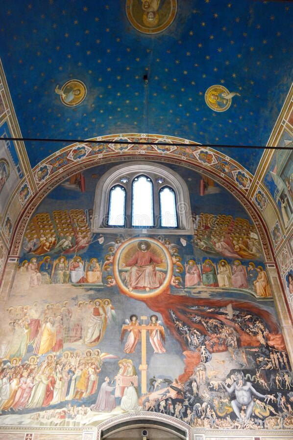 Giotto fresco cycle in Scrovegni Chapel, Padua, Italië stock afbeelding