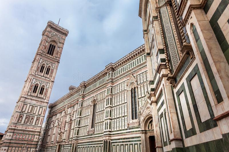 Giotto`s Campanile near the Cathedral of Santa Maria del Fiore on the Piazza del Duomo in Florence, Italy. royalty free stock image