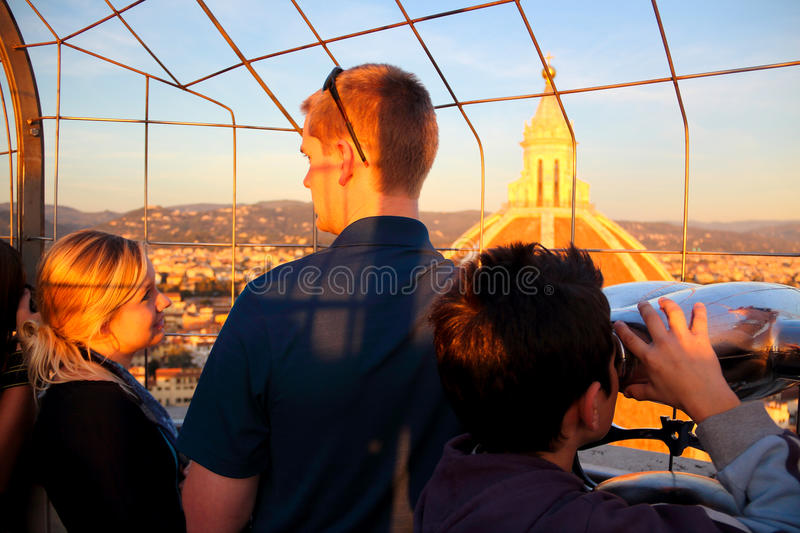 Giotto's top Campanile at sunset stock photos