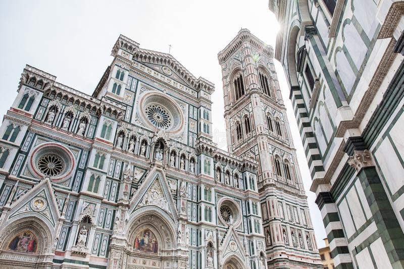 Giottocampanile en Florence Cathedral in 1436 wordt gezegend die stock foto