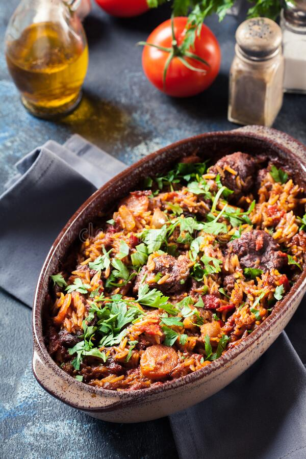 Giouvetsi - Greek beef and orzo stew stock photography