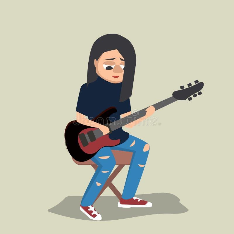 Giovane adolescente che gioca il fumetto di vettore della chitarra royalty illustrazione gratis
