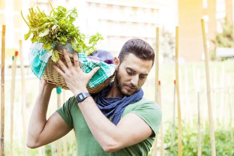 Giovane agricoltore che porta un canestro delle verdure nel suo giardino fotografia stock libera da diritti