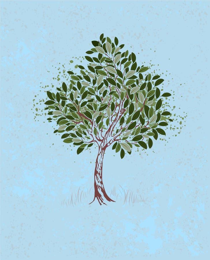 Giovane albero su un fondo blu illustrazione di stock