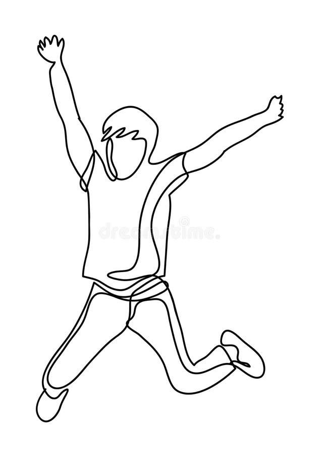 Giovane allegro emozionante felice che salta e che celebra successo isolato su un fondo bianco Disegno a tratteggio continuo illustrazione vettoriale