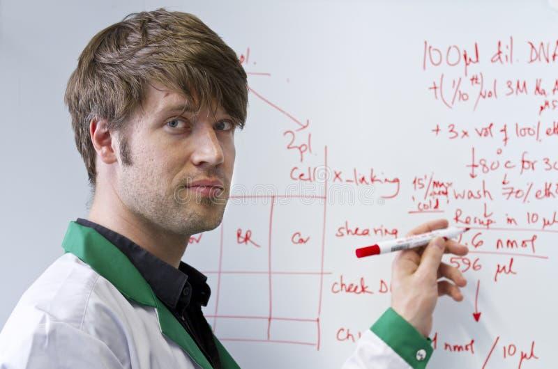 Giovane allievo bello di Biotech con il whiteboard fotografia stock