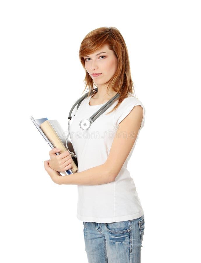 Giovane allievo femminile della medicina fotografia stock